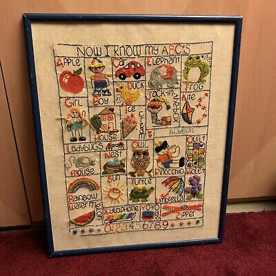 VTG Crewel ABC Embroidery Sewing Sampler Cross Stitch Alyson Colorful Nursery