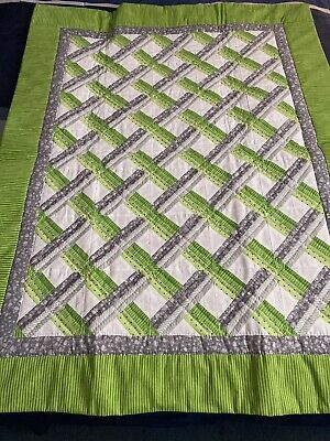 Handmade Baby Quilt Green White Grey
