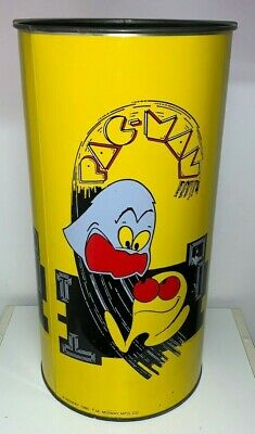 Large Tin, PAC-MAN GARBAGE CAN (Midway 1980,P & K Products) 19-1/4 Inches Tall