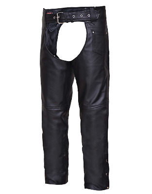 Highway Hawk Motorcycle Biker Leather Chaps with Coin Pocket Unisex YKK Zippers