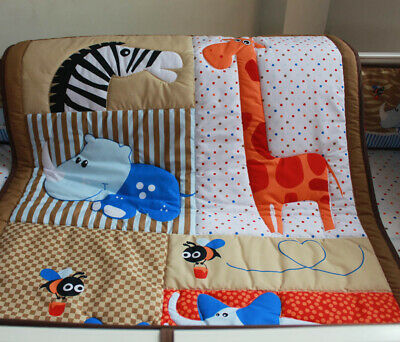New Baby Girls 7 Pieces Cotton Nursery Bedding Crib Cot Sets
