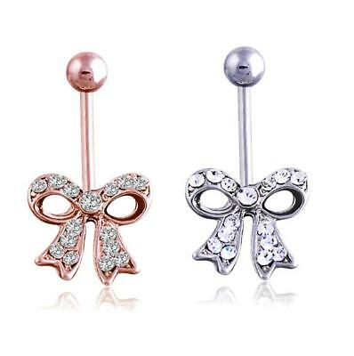 Cute Bow Bowknot Belly Button Bars Navel Bar Ring Crystal Gem Body Piercing Gift