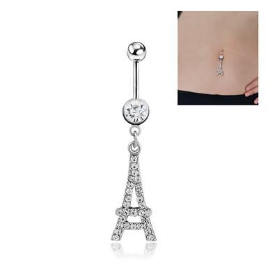 Crystal Eiffel Tower Belly Bar Button Navel Piercing Surgical Steel with CZ Gems