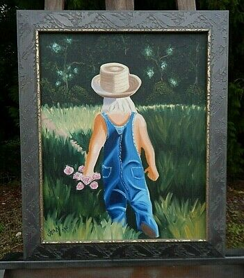 Amish Boy, Carring Wild Flowers. Original painting, Signed,  in Mint Condition.
