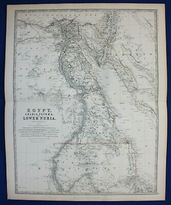 Large original antique map EGYPT, ARABIA PETRAEA & LOWER NUBIA, Johnston, 1886