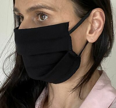 Face Mask BLACK Cotton Cover Mouth Reusable Washable unisex Mask - UK STOCK