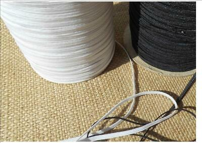 """X 10 Metres WHITE  ELASTIC 4 CORD 3MM ⅛ """" flat  face mask SOFT & STRONG"""