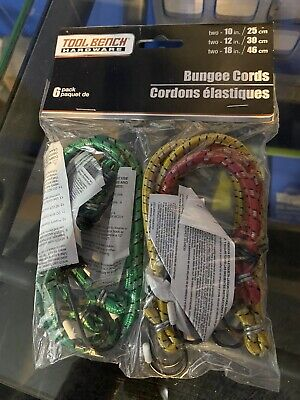 NEW 6 Count Pack BUNGEE CORDS ~ 2-10 inch, 2-12 inch,  2-18 inch ~ Tool Bench