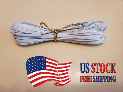FLAT 1/8 inch Elastic for Face Mask 10 Yard CUT in WHITE