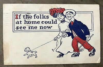 Lovers Walking Dog 1909 Comic Postcard -If The Folks At Home Could See Me Now