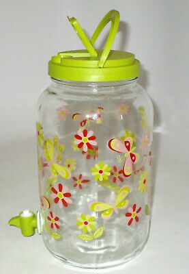 Glass Ice Lipton Iced Sun Tea 1 Gallon Jar Jug Spigot Lemon Water Butterflies