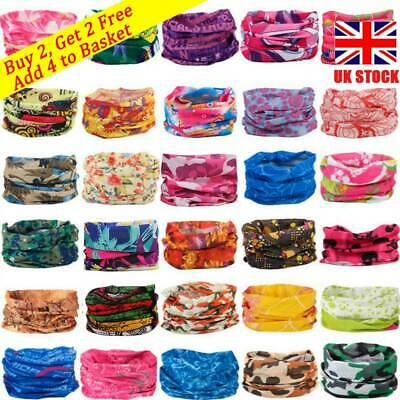 Magic Head Face Mask Snood Neck Tube Headwear Wrap Shawl Outdoor Scarf Buff UK