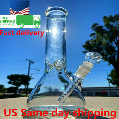 Hookah Water Pipe Heavy Glass Bong 10 inch Smoking Pipe Beaker w/ ICE Catcher US