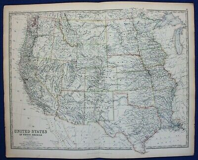 Large antique map WEST USA, CALIFORNIA, TEXAS, 'INDIAN TERRITORY', Johnston 1886