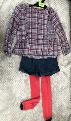 Girls M & S SHORTS/BLOUSE AND TIGHTS SETS Age 3 - 4 Years USED ONLY ONCE