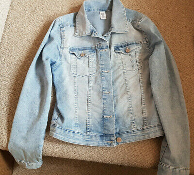 H&M Girls light blue faded denim jacket 12-13 years with fast UK shipping