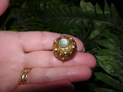 Vintage SOLID PERFUME RING - signed ART - adjustable - secret compartment ring