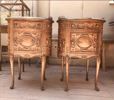 Pair Of 2 Antique 1940/50's French Style Hand Carved Oval Drawer Side Tables
