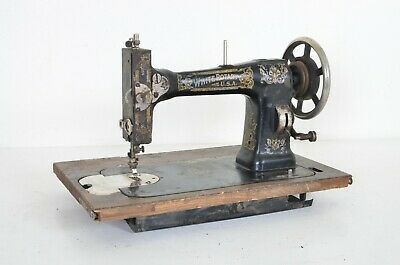 Antique Vintage White Rotary 813 U.s.a. Made Black Floral Sewing Machine Head