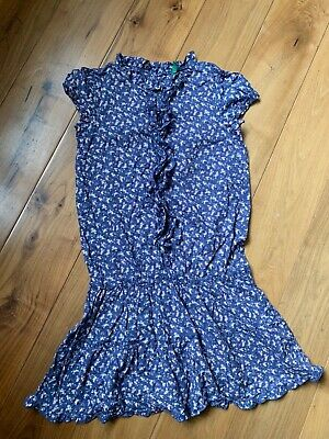 United Colours of Benetton girls blue floral dress age 11-12 yr ruffle worn once