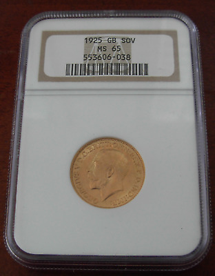 Great Britain 1925 Gold Sovereign NGC MS65