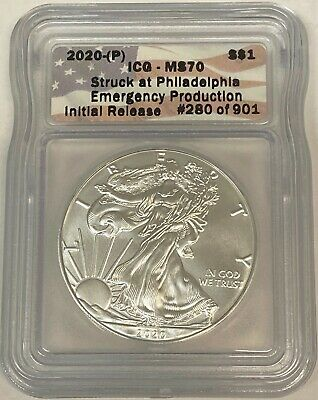 2020 (P) Silver Eagle ICG MS70 Emergency Production 1/901