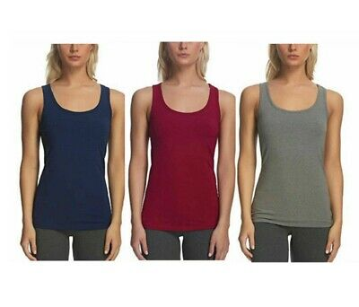 Felina Women 3-Pack Cotton Stretch Layering Tank Top Size Large Plum/Gray/Navy