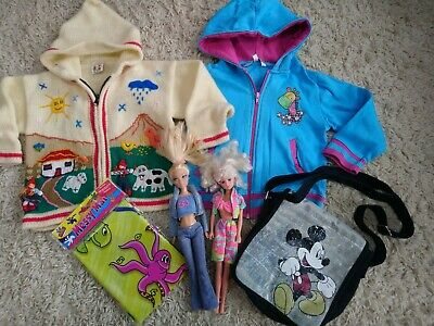 Girls hooded jackets, messy mat, bag and dolls 3-4 years