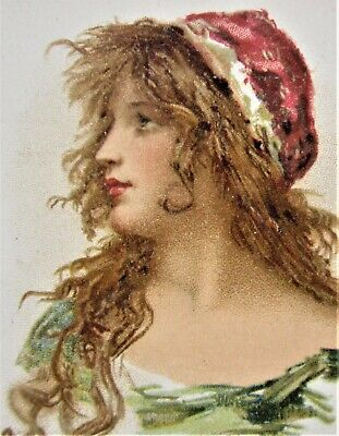 Early French Art Nouveau 'Moka Chicoree' LADY in Red Cap Unused AD Postcard