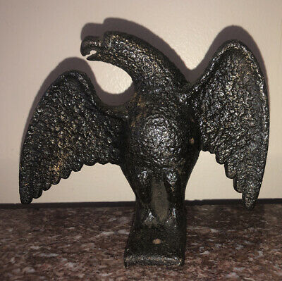 Vintage Cast Iron Carved Eagle Finial Clock Mantle Top