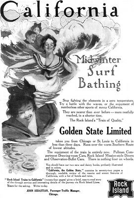 Rock Island Railroad Golden State Limited CALIFORNIA SURF BATHING 1907 Print Ad