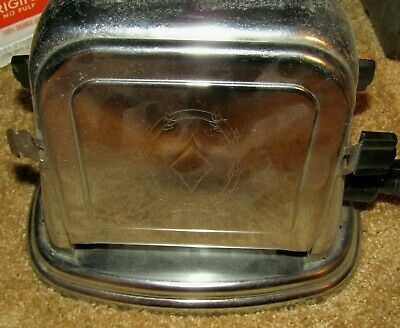 """Antique Bersted #71 Art Deco Double Sided Metal Electric Toaster """"Works"""""""