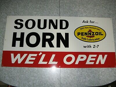 "Original SOUND HORN We'll Open PENNZOIL 32""x15"" One-Sided Metal Garage Sign 1965"