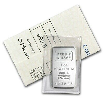 1 oz Platinum Bar - Credit Suisse .9995 Fine with Assay Certificate