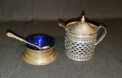 Watson Sterling Mustard Pot & Salt Cellar With Cobalt Glass Insert & Spoons