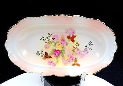 Schumann Germany Sunset Rose Floral & Gold Oval Relish Serving Dish 1955-1970