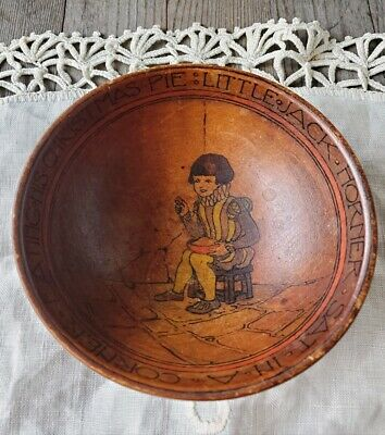 Antique Handmade Handpainted Arts and Crafts Wooden Childrens Nursery Rhyme Bowl