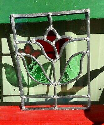 vintage leadlight stained glass rose panel
