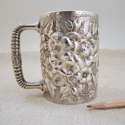 Antique George W Shiebler Co Sterling Silver Repousse Cup Stein Mug New York Vtg