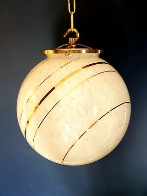 Original Art Deco Saturn Glass Globe Light very Large brass gallery and hook.