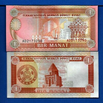 Turkmenistan P-1 1 Manat Year 1993 a/Uncirculated Banknote