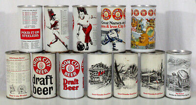 12 Vintage Iron City Pull Tab Beer Cans Pittsburgh Steelers Pirates Penguins Pa+