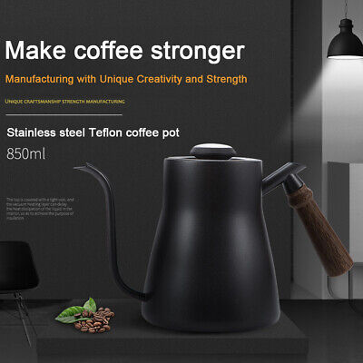 With Thermometer Safe Coffee Pot Home Stainless Steel Office Wood Handle Kitchen