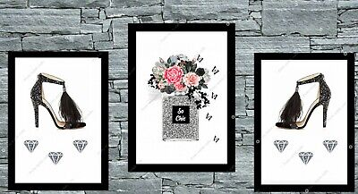 Set of 3 grey & black shoes and perfume bottle print wall art fashion home deco