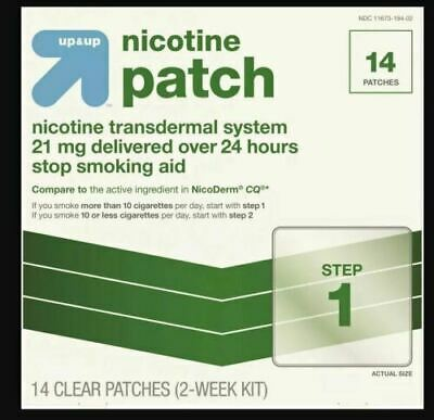 Up & Up Nicotine Patch System - 21mg Step 1 - 14 Patches Exp 07/2022 Open Box