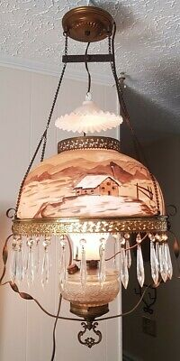 ANTIQUE Victorian Oil Hanging Lamp Hand Painted WINTER, CABIN Electrified BEAUTY