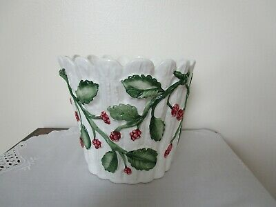 Tiffany & Co Planter Berries White Fluted Ceramic Italy Hand Painted Rare Vtg