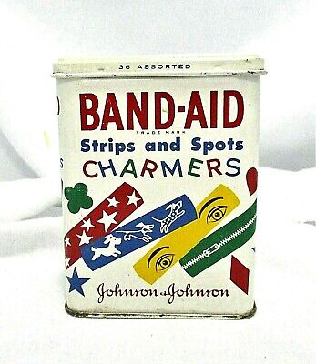 Vintage 1959 Band-Aid Empty Tin Strips And Spots Charmers Colorful Designs Kids