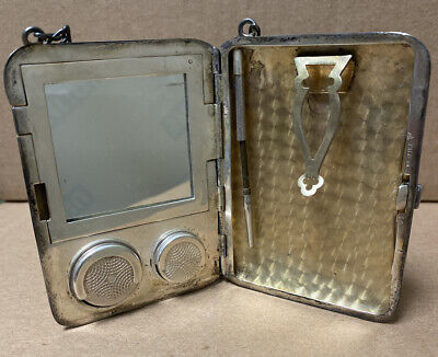 Vintage 1900s STERLING SILVER Engraved Coin Makeup Purse Compact