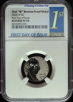 2020 W NGC Reverse Proof 70 UCAM Jefferson Nickel ☆☆ First Day of Issue ☆☆
